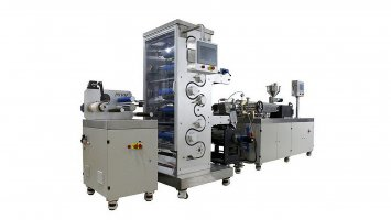 MDO machine-twin screw extrusion cast film and two stage draw sections MDO line