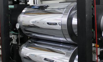 Two roll calendering laminating line