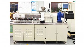 Triple screw die face cutting granulation line use for ceramic phone backboard