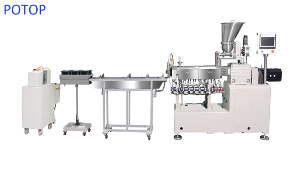 Micro parallel twin screw extruder pelletizer